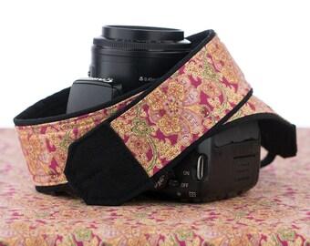Pink Floral Paisley Camera Strap, dSLR, SLR, Canon, Nikon, Mirrorless, Photography, Neck Strap, Photography,  084