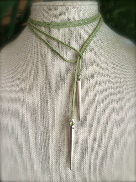 Green Leather Choker Customize Leather Color Choker Necklace Vegan Suede Lond Lariat Tie Necklace Silver Spike Boho Gift Woman under 25