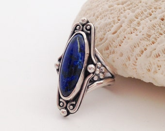 Blue Stone Ring, Sodalite Size 6 1/2 Sterling Silver Floral Ring, Long Scroll Design with Flowers Silversmith Romantic Bohemian Style