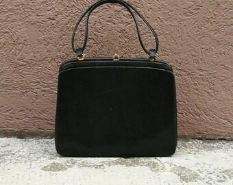 Original structured handle-bag lizard leather