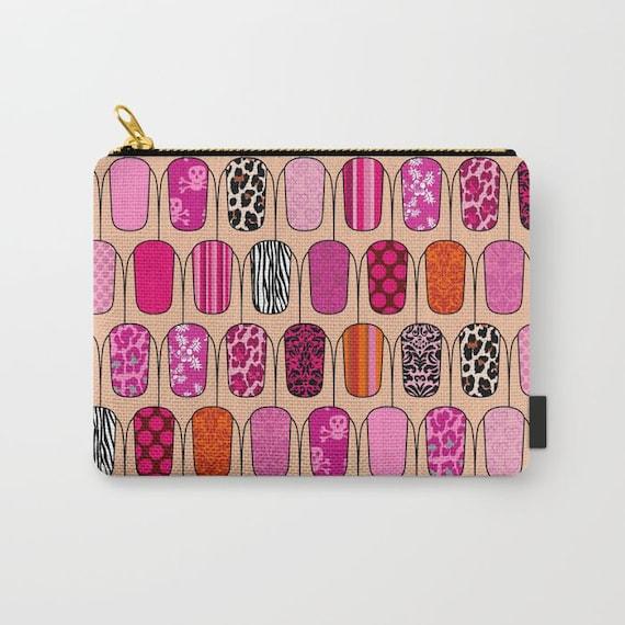 Nail Art Purse Pink Pencil Pouch Case Womens Coin Purse