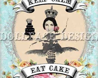 INSTANT Download - Keep Calm and Eat Cake Insect Queen - Digital 5x7 Greeting Card Note Card Gift Tag - Download and Print