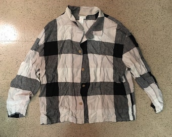 "Cool 90s Wide-Plaid Print, ""Cherokee,"" Linen Button Down Shirt"