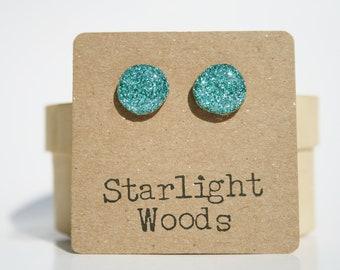 Blue Sparkle Stud Earrings • Hypoallergenic wood Earrings by Starlight Woods