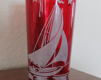"""Vintage Sailboat Pattern Red Glass 4 3/4""""- free shipping USA"""