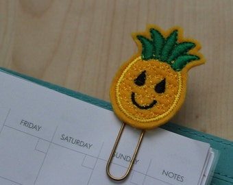 Happy Pineapple Felt Planner Clip - Paper Clip - Bookmark