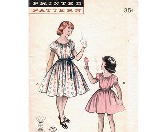 Girls Dress Pattern Butterick 6465 Kimono Sleeve Peasant Dress Girls Size 8 Vintage Sewing Pattern