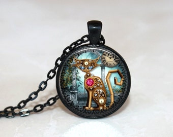 Glass Tile Necklace Steampunk Necklace Brass Jewelry Glass Tile Jewelry Steampunk Jewelry