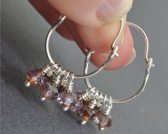 Sterling Silver Hoops, Cluster Earrings, Cluster Hoops, Czech Glass, Pink