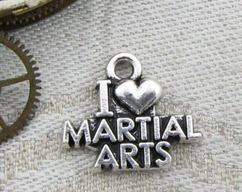 1 (or 4) I Love Martial Arts Silver Charms, SPO041
