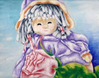 Oil Painting of Grandma's Doll