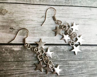 Star earrings, silver stars earrings, stars cluster earrings, dangly dangle drop earrings, universe cosmos night sky earrings, gifts for her