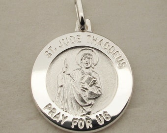 Silver St Jude Thaddeus Medal Pendant or Necklace - Patron Saint of Lost Causes Hospital Workers - Personalised Saint Jude for Him Her