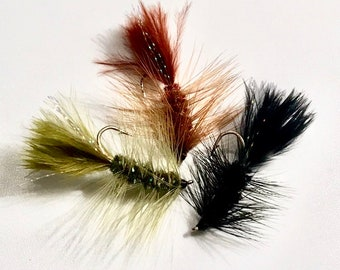 Woolly Bugger Streamer/Wet Fly - Traditional Woolly Bugger - Multiple Sizes - Rust, Olive, Black, White - Fly Fishing Fly - Trout Fly