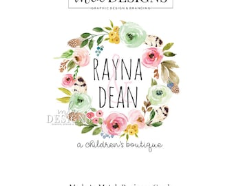 Flowers and Feathers Logo - Watercolor Logo, Premade Wreath Logo, Watercolor Boutique Logo, Premade Logo, Mint Green Pink Logo, Feather Logo
