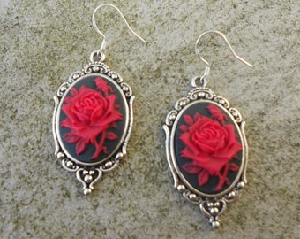 Gorgeous Red Rose (on a black background) Cameo Earrings!!! .925 Hooks!!!  Quality!!!