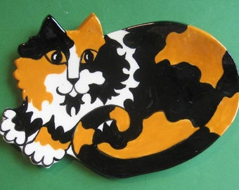 CAT SPOON REST - or soap dish , trinket holder or tea bag holder- long hair