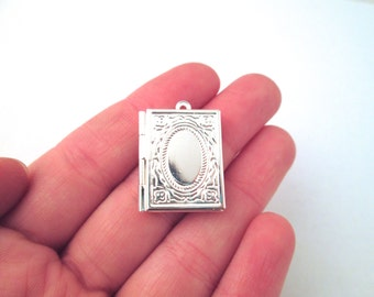 Silver plated book lockets 26x20mm, pick your amount, D198
