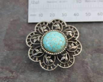 round Turquoise Vintage Brooch