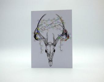 Deer skull, stag skull christmas lights, gothic christmas cards