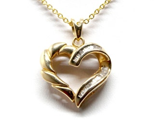 14k Yellow Gold Diamond Heart Necklace Pendant Christmas Love