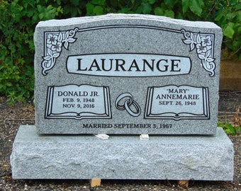 """Cemetery Granite Headstone 30 x 6 x 20""""  759.00 plus shipping gray companion monument engraving included"""