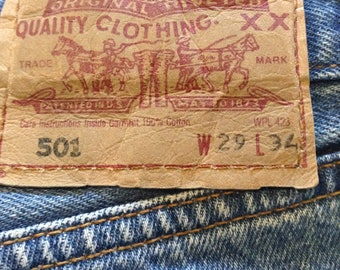 Levis 501 Blue Button Jeans W29 L34
