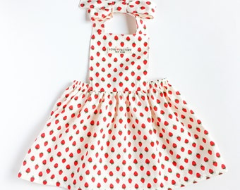 Baby girl pinafore dress strawberry-baby girl dress-baby salopette-baby girl overall-baby girl skirt-baby apron dress-love factory ny