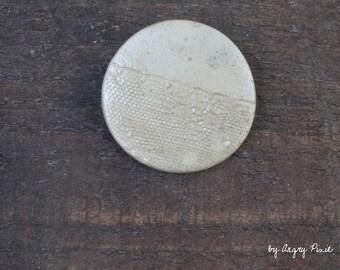 ceramic brooch Ecru lace texture