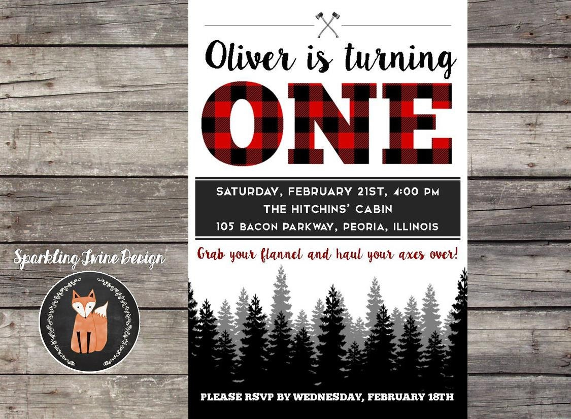 Printable 4x6 Lumberjack Buffalo Plaid Modern 1st Birthday