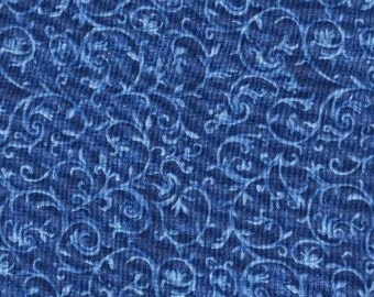 Blue Flowers, Marseille by Blank Quilting, Blue Floral Fabric, Blue Fabric, Floral Fabric, 02204