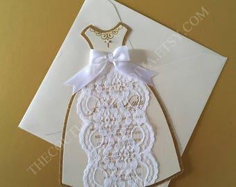 Lace Communion Invitation, First Holy Communion Invitation, Girl Communion Invitation, Communion Dress Invitation, Girl Baptism Invitation