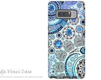 Blue Paisley Galaxy Note 8 Case - Floral Case for Samsung Galaxy Note 8 with Indian Paisley Art - Blue Mehndi - Premium Dual Layer Case