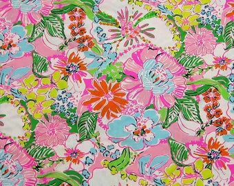 "1 yard 36"" x 57"" Lilly Pulitzer Cotton Poplin Fabric "" Multi Nosie Posey """