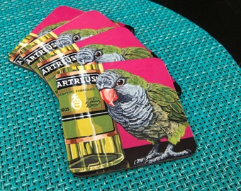 Fun and Funky Quaker Parrot Coasters, Gifts for Cocktail Lovers, Pop Art Parrot Illustration, Gift for Parrot Lover, Artisanal Cocktails