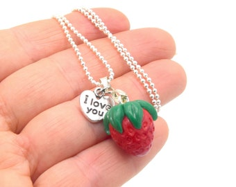 Strawberry spring polymer clay pendant necklace, red berry necklace and chain, Womens, kids jewelry
