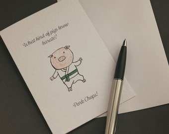 Pork Chops Hand-drawn Greeting Card - Pig | Animals | karate | farming | play-on-words | thai-chi | boxing | watercolour | cheesy | funny