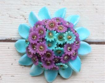 RARE West German Plastic Purple & Blue Flower Brooch