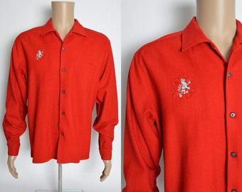 Vintage Da Vinci Shirt Red Wool Lion Crest 1950s Style Loop Collar