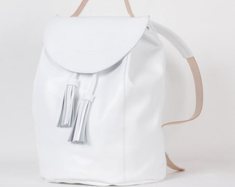 White backpack drawstring with tassels / To order / Leather Backpack/ Leather rucksack / Womens backpack / To order