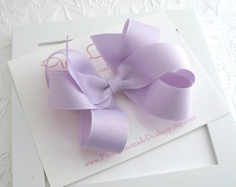 Lavender Hair Bow, Toddler Hair Bow Clip, Double 6 Loop Bow, Boutique Hairbow, Girls Hair Accessories, Large Bow, Fancy Hair Bow