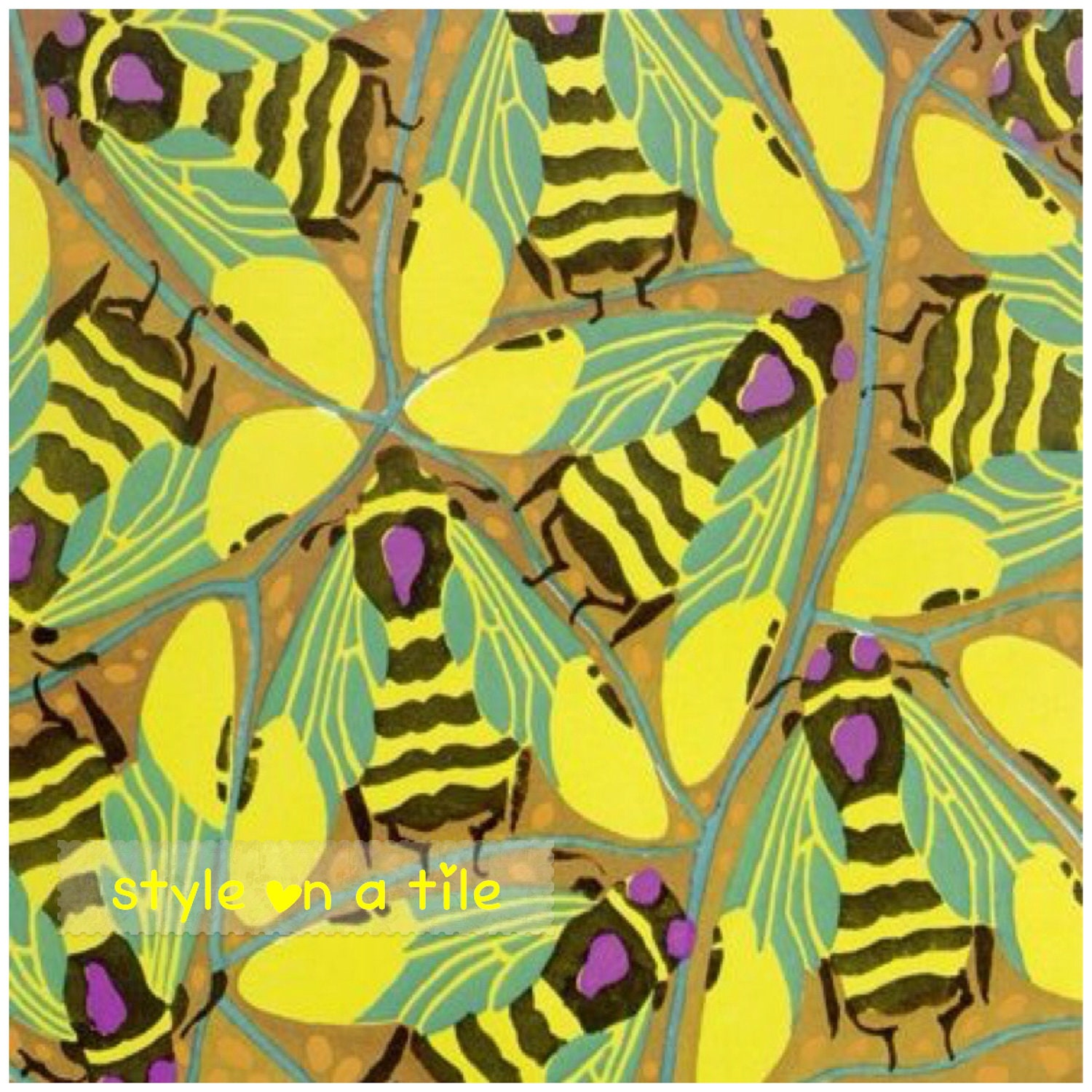 Art Deco Eugene Seguy Bumblebee Bee Insects 6/152mm ceramic tile ...