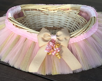 Pink and Gold Tutu Basket, Tutu Gift Basket, Tutu Baby Shower Basket, Wedding Basket, tutu Easter Basket, Newborn Photo Prop Basket