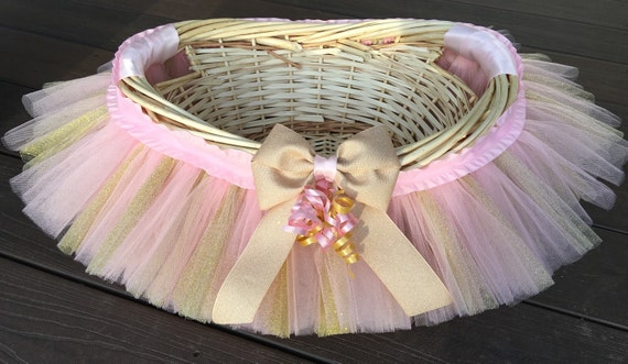 Pink and gold tutu basket tutu gift basket tutu baby shower negle