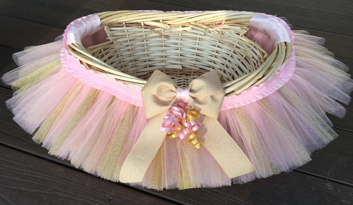 Pink and gold tutu basket tutu gift basket tutu baby shower zoom negle Image collections