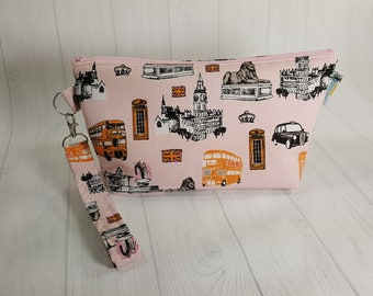 Small Knitting Project Bag, London Icons on Pink, Zippered Wedge Bag, Zipper Knitting Bag, Cosmetic Bag WS0083
