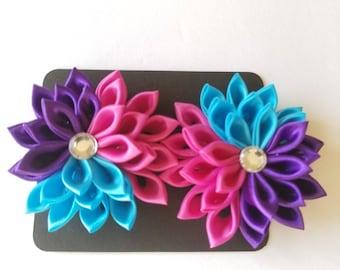 Kanzashi Hair Bow Set - Kanzashi Flowers - Rainbow Hair Clip - Rainbow Hair Bows - Rainbow Hair Bow Set - Hair Bows - Flower Bow - Hair Clip