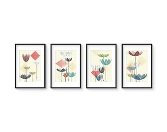 SUMMER LOTUS - Collection of (4) Giclee Prints - Abstract Contemporary Lotus Flowers in a Mid Century Modern Style