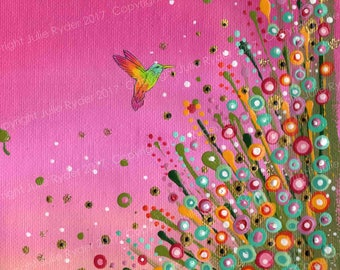 Flower Meadow Painting with Hummingbird on A5 size Canvas Paper