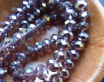 20 bead 6 X 8 mm faceted light purple AB flat glass